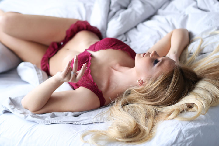 sexy woman red lingerie bed