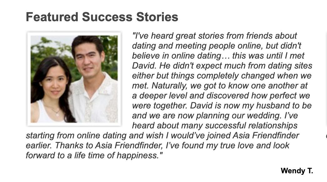 AsiaFriendFinder testimonial